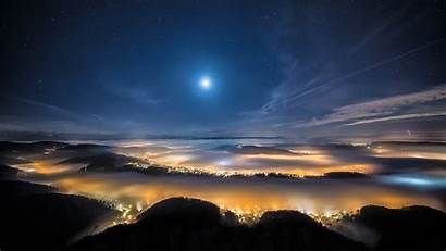 Sky Night Moon Stars Lights Fog Bokeh