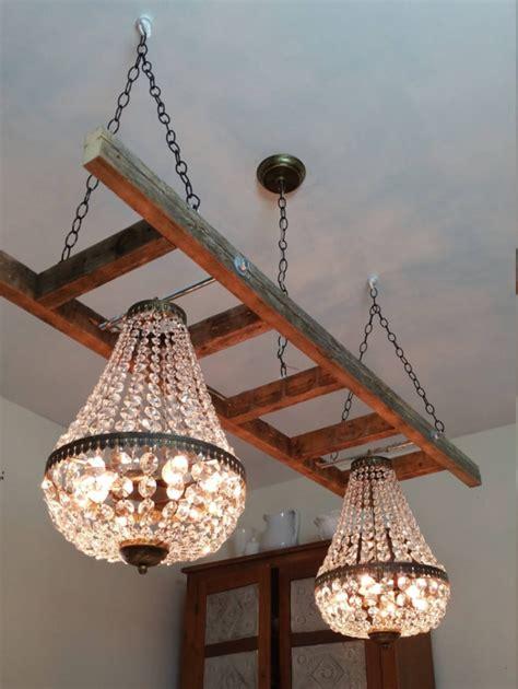 vintage farmhouse ladder  crystal chandeliers id lights