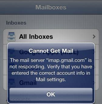 iphone cannot get mail fixed quot cannot get mail the mail server quot imap gmail