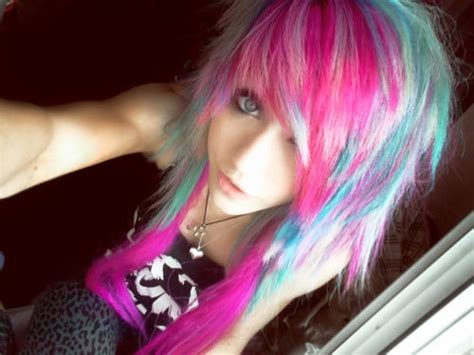 Bright Colored Hair Rainbow Piercings And Bold Eye Make