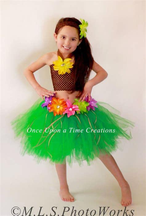 luau hawaiian grass hula skirt tutu dress set girls size