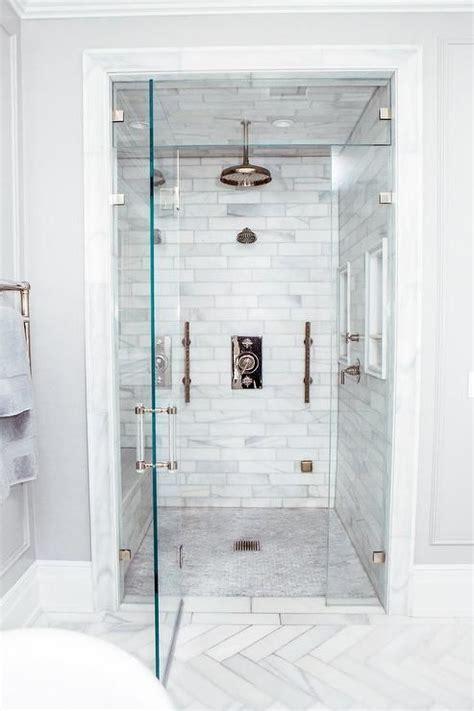 walk  steam shower  staggered honed marble tiles