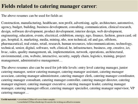 catering manager resume cover letter top 5 catering manager cover letter sles