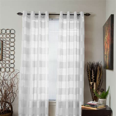 Striped Drapery by Lavish Home Sofia Sheer Striped Single Panel Curtain 95