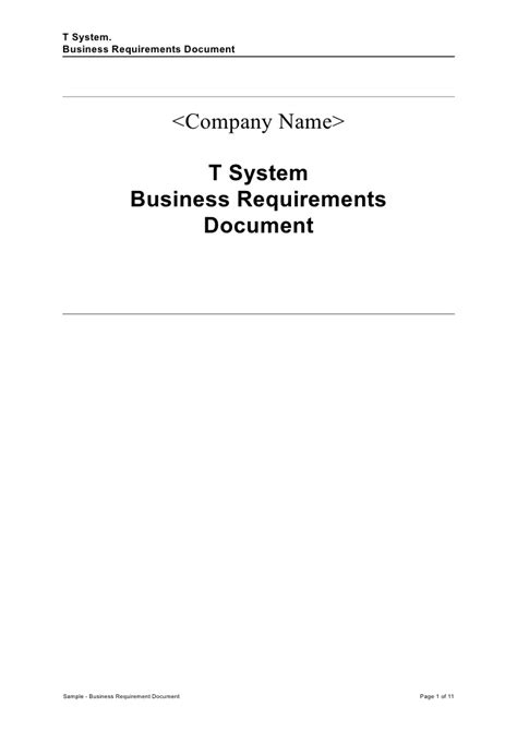 sample business requirement document