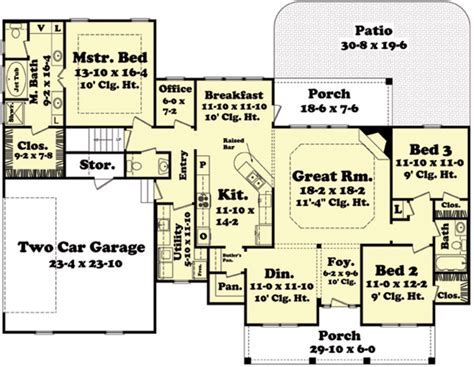Country Style House Plan   3 Beds 2 Baths 2100 Sq/Ft Plan