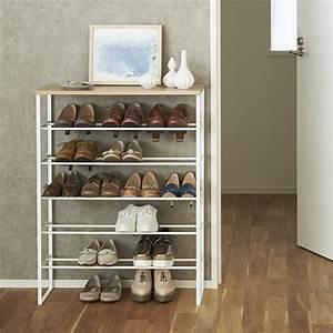 Scandi, 6, Tier, Shoe, Rack, With, Shelf