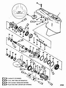 Mercury  Mariner V-175 Efi  Gear Housing Prop Shaft Cntr Rotation S  N-0g437999  Below
