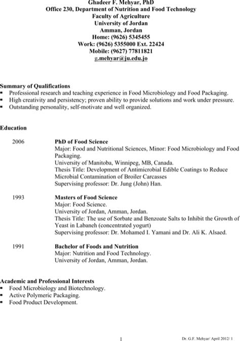 Food Science And Technology Resume by Food Science Resume Exles