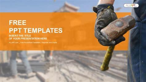 construction worker  sledge hammer powerpoint templates