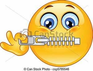 Clip Art Vector of Zipper emoticon - Emoticon zipping his ...