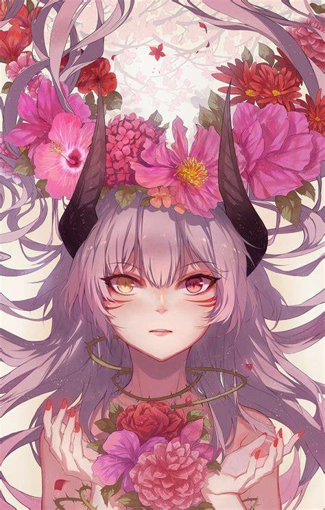 pin  lucious carmine  demon girls   anime