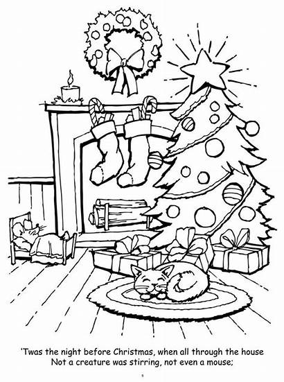 Coloring Christmas Pages Twas Night Before Sheets