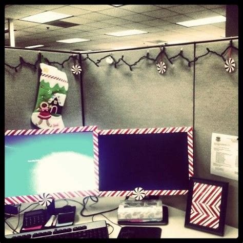 christmas decorations on the computer cubicle office decoration ideas cubicles computers and