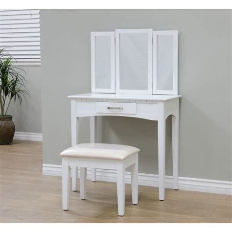 Bedroom Vanity Set White by Megahome 3 White Vanity Set Mh206 Wh The Home Depot