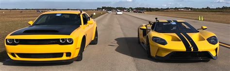 There are few better candidates for the job than the dodge challenger srt demon that makes 808 horsepower and. Dragtimes Races Ford GT vs Dodge Demon in the 1/2 mile