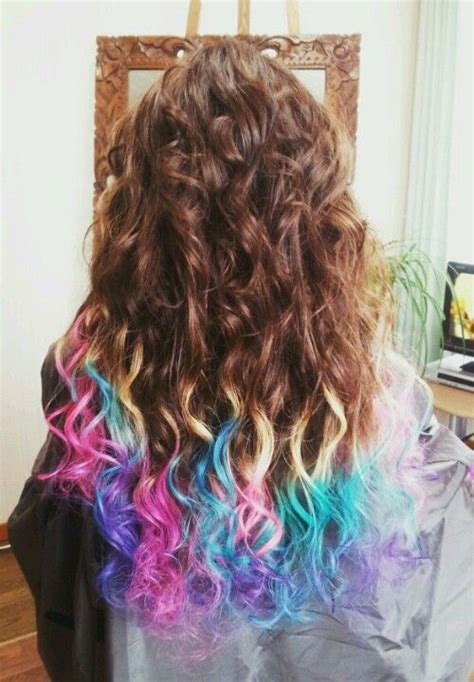 Colorful Dip Dye Hair °∴ Hair Color Pink Green Blue Purple