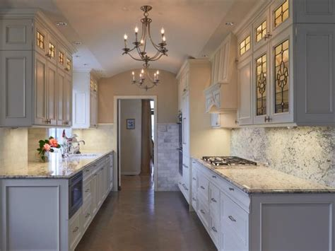 classic galley kitchen  marble backsplash hgtv