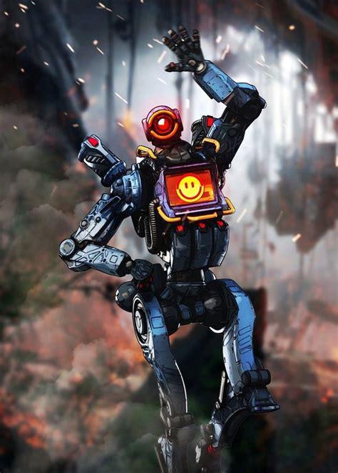 apex legends character poses pathfinder displate artwork