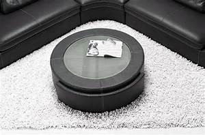 Table Basse Cuir : table basse en cuir italien marcy noir mobilier priv ~ Teatrodelosmanantiales.com Idées de Décoration