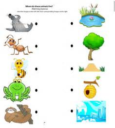 matching animals to their home worksheet crafts and worksheets for preschool toddler and