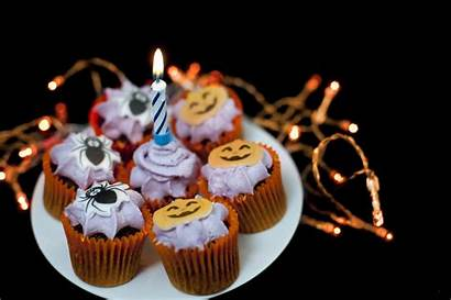 Halloween Party Cakes Plate Candle Decorated Treats