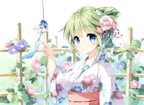wallpaper touhou kochiya sanae kimono green hair