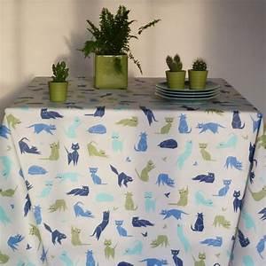 Nappe Ovale Enduite : nappe enduite chats bleus fleur de soleil ~ Teatrodelosmanantiales.com Idées de Décoration