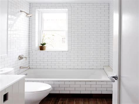 white subway tile bathroom dark grout white subway tile