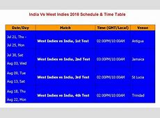 Learn New Things India Vs West Indies 2016 Schedule