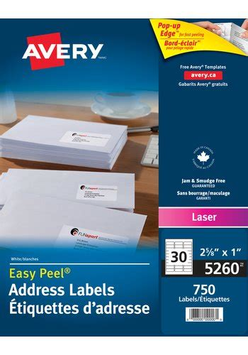 avery 174 5260 address labels 1 quot x 2 5 8 quot rectangle white