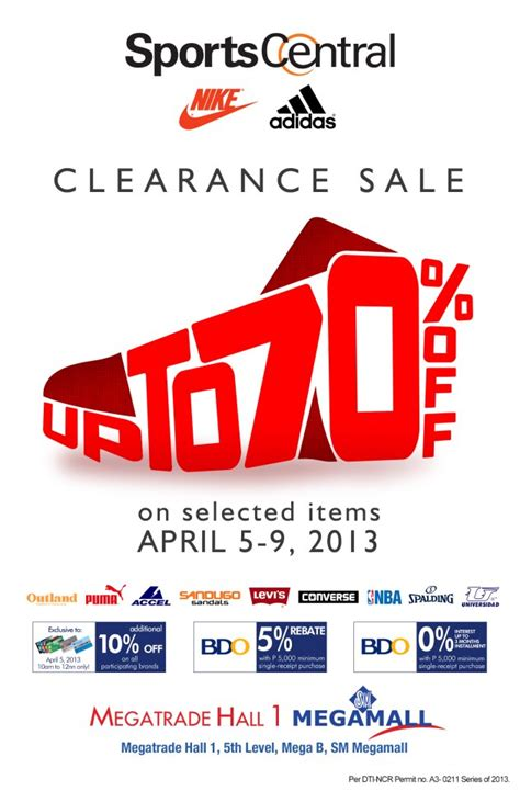 sports central clearance sale sm megatrade hall april