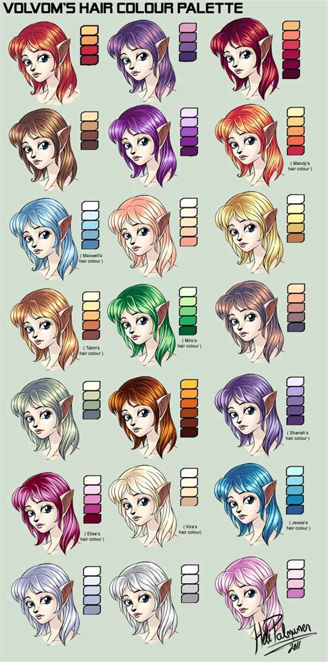 hair colour palette  volvomdeviantartcom