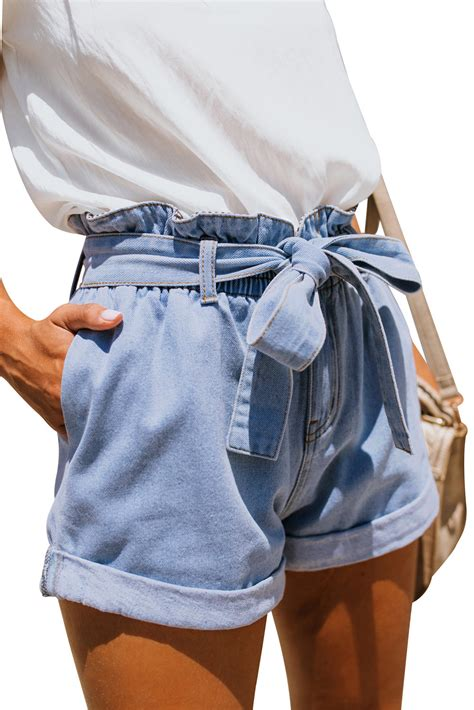 wholesale jeans cheap light blue paper bag waist denim