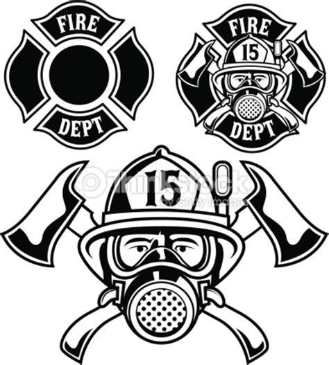 14074 firefighter helmet clipart black and white vector illustration of firemen badge vector thinkstock