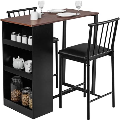 Use it to create a breakfast get organized with this transitional pub set with built in storage in the pedestal table base! Gymax 3 Piece Counter Height Pub Dining Set Kitchen Table & Chairs w/ Storage Espresso - Walmart ...