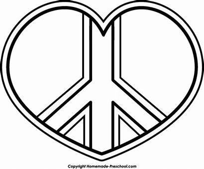 Peace Coloring Pages Sign Printable Clipart Heart