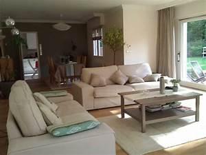deco salon taupe beige blanc With tapis shaggy avec canapé 3 places relax manuel welton