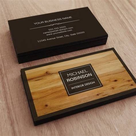 stylish border wood grain texture business card zazzle