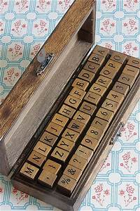 antique style wood stamps set stamp alphabet number With antique letter stamps