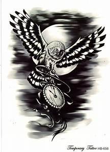 Tattoo Schwarz Weiß : suribella t823 temporary einmal tattoo eule vogel nacht zeit mond schwarz wei haut ~ Frokenaadalensverden.com Haus und Dekorationen