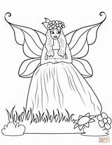Coloring Fairy Gown Ball Pages Printable Drawing Supercoloring Games sketch template