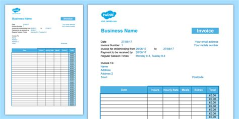 childminder invoice  hourly rate template spreadsheet