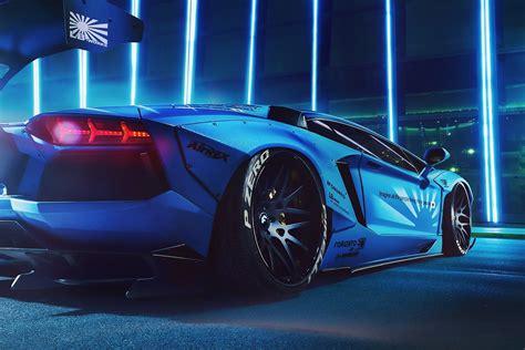 Blue Modified Lamborghini Hd Wallpaper