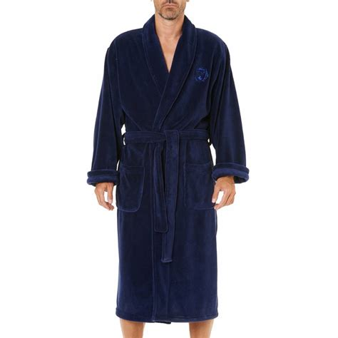 robe de chambre arthur en polaire bleu nuit rue des hommes