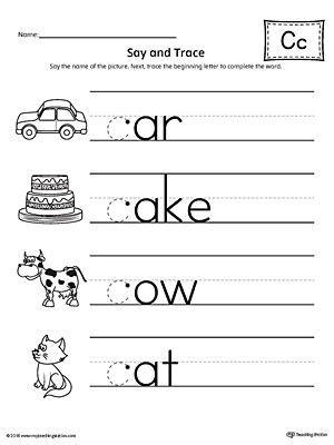 trace letter  beginning sound words worksheet