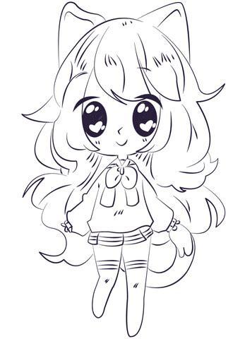 kawaii anime girl coloring page  printable coloring