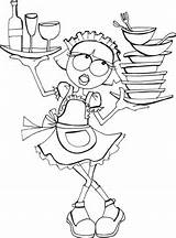 Coloring Waitress Sheet sketch template