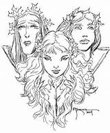Maiden Crone Mother Coloring Tattoos Kaluta Template Goddess sketch template