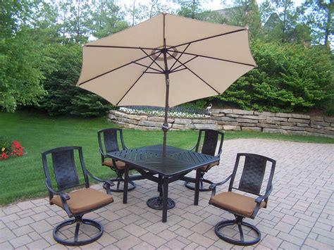 oakland living aluminum patio dining set 48x48 quot table